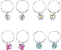 925 Silver Colorful Combo 4 Pair Dangling Ball Crystal Silver Earring Set