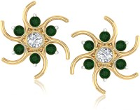 Forevercarat Lovely 14K Yellow Gold Plated 14 K Emerald Yellow Gold Stud Earring