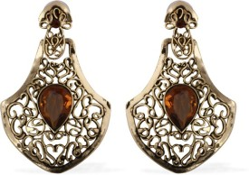 The Fine World Stunning Regal Victorian Danglers With Gold Cutwork Zircon Metal Drop Earring