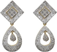 Sheetal Jewellery 18K Yellow Gold 18 K Cubic Zirconia Brass, Alloy Drop Earring