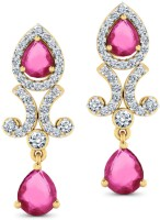 CaratLane Splendour, 18K Yellow Gold Plated 18 K Diamond, Ruby Gold Drop Earring