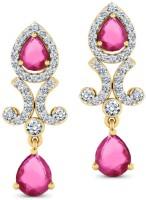 CaratLane Splendour, 18K Yellow Gold Plated 18 K Diamond, Ruby Gold Drop Earring