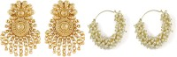 Muchmore Traditional South Indian Style Gold Plated Partywear Polki Earring Wedding Jewelry , Pearl Alloy Earring Set