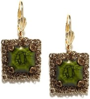 Blissdrizzle Muted Gold-Toned & Green Metal Dangle Earring