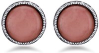 Jazz Jewellery Jazz Jewellery Designer Round Shape Antique Silver Earrings With Pink Stone In Centre Alloy Stud Earring