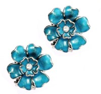 Jazz Jewellery Flower Design Sky Blue Color Clip On Alloy For Women Alloy Clip-on Earring