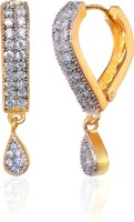Alysa Aanisah 18K Yellow Gold, Rhodium Plated Cubic Zirconia Brass, Alloy, Silver Drop Earring