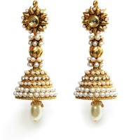 Tatva Designer Copper Based Long Antique Earrings With Pearl Drop Brass Jhumki Earring