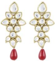 Karatcart Ethnic Kundan 14K Yellow Gold Alloy Drop Earring