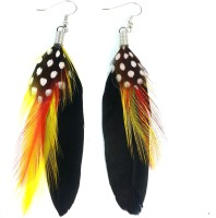 Ammvi Creations Multicolour Streaks Feather For Women  K Alloy Dangle Earring