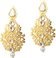 Kriaa Gold Finish Kundan Pearl Drop Golden Cut Work - 1305009 Alloy Drop Earring