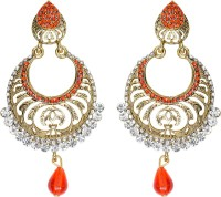 Mitthi Jewels Party Wear Orange Traditional Type Designer Earrings Alloy Drop Earring