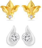 Mahi CO1104229M 24K Yellow Gold, Rhodium Plated Crystal Brass, Alloy Earring Set
