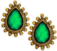 Beingwomen Tear Drop Shape Stone Studded Yellow Gold Alloy Stud Earring