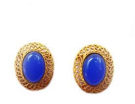 Jalparee Styliysh Blue Metal Stud Earring