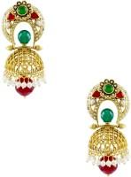 Orniza Rajwadi Earrings In Red & Green Color With Golden Polish Brass Drop Earring