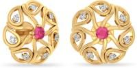 WearYourShine By PCJ The Arona 18 K Diamond, Ruby Gold Stud Earring