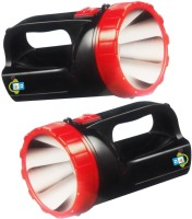 Gadget-Wagon Target 1W Hand Held High Brightness Rechargeable LED (T-1310) Pack Of 2 Torches (Black)