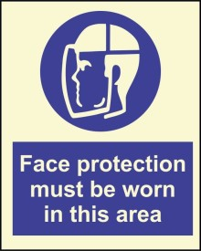 BRANDSHELL Face Protection Must be Worn in This Area Emergency Sign