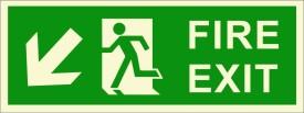 BRANDSHELL Fire Exit Down Left Side Emergency Sign