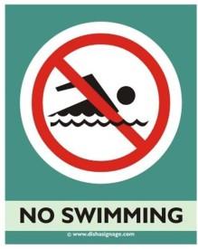 Dishasignage No-Swiming Emergency Sign