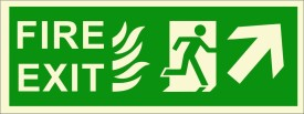 BRANDSHELL Fire Exit Upper Right Side Emergency Sign