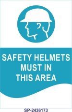 SignageShop Safety helmets must in this area Poster Emergency Sign