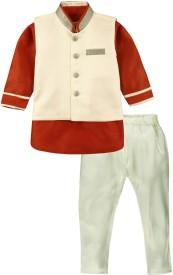 Mom & Me Baby Boy's Kurta, Waistcoat and Pyjama Set