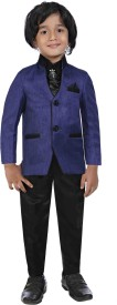 Jeet Coat Suit Set with Shirt Self Design Boy's Suit