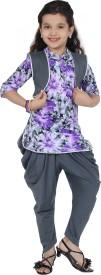 Be:Kids Girl's Kurta, Waistcoat and Dhoti Pant Set