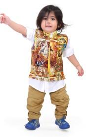 Munna Munni Kids Apparel Boy's Kurta, Waistcoat and Pyjama Set