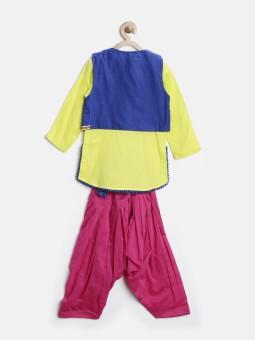 Biba Girl's Kurta, Waistcoat And Pyjama Set