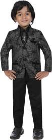 Jeet Coat Suit Set with Shirt Self Design Boy's Suit