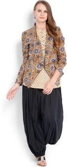 Folklore Women's Kurta, Waistcoat And Pyjama Set - ETHE8R6FWCCH7YPY