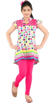 Yellow Dots Girl's Kurti And Legging Set