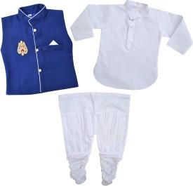 Kids Rock Boy's Kurta, Waistcoat And Pyjama Set - ETHE8FYAR5EHYUEW
