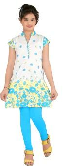 Yellow Dots Girl's Kurti And Legging Set - ETHE4BRFAUZPHSPC