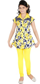 Yellow Dots Girl's Kurti And Legging Set - ETHE7G345AKXEY3A