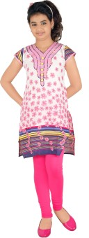 Yellow Dots Girl's Kurti And Legging Set - ETHE4BRFEEV3FGK8