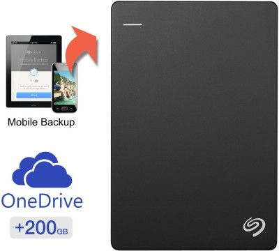 Seagate 2 TB Wired  External Hard Drive with  200 GB  Cloud Storage (Black, Mobile Backup Enabled)