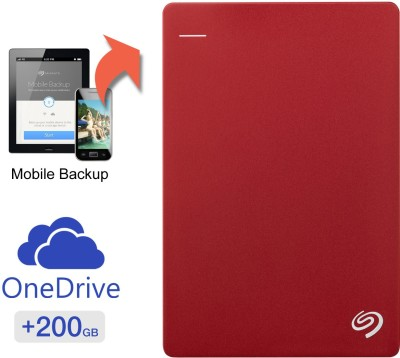 Seagate Backup Plus Slim 2 TB Wired  External Hard Drive with  200 GB  Cloud Storage (Red, Mobile Backup Enabled)