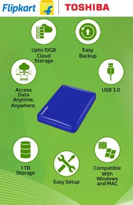 Toshiba Canvio Connect II (HDTC810XK3A1) USB 3.0 1TB External Hard Disk