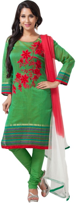 Aapno Rajasthan Cotton, Silk Floral Print Semi-stitched Salwar Suit Dupatta Material Fabric - Unstitched