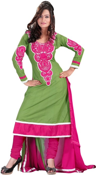 Fabdeal Cotton Solid, Printed Embroidered Semi-stitched Salwar Material Fabric - Unstitched