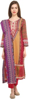 Kesaria By Uptowngaleria Cotton Floral Print Salwar Suit Dupatta Material Un-stitched