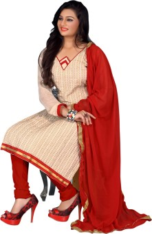 Shop Plaza Chanderi, Cotton, Silk Embroidered Salwar Suit Dupatta Material Unstitched
