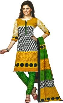 Jevi Prints Cotton Printed, Geometric Print Salwar Suit Dupatta Material (Unstitched)