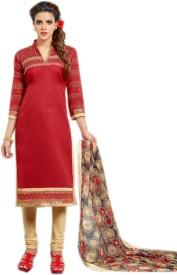 Fabliva Chanderi Embroidered Salwar Suit Dupatta Material