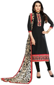Fashion Ritmo Cotton, Net Embroidered, Self Design Salwar Suit Dupatta Material Un-stitched