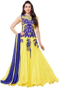Monika Silk Mill Georgette Embroidered, Self Design Semi-stitched Salwar Suit Dupatta Material Unstitched